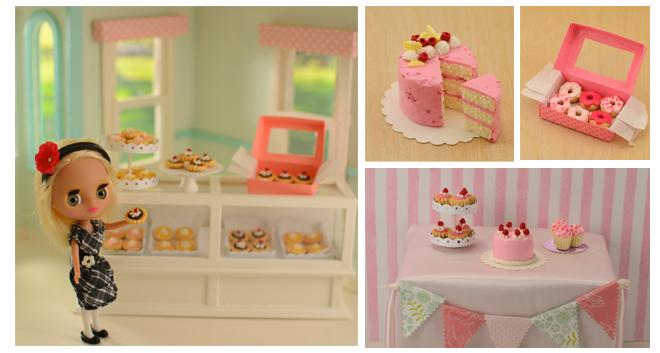 Littlest pet shop Blythe holding a chocolate tart. Miniature cakes. Miniature Donuts.