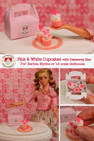 Miniature Pink & White Cupcakes for Barbie or Blythe