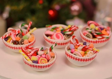 Miniature Bowls of Christmas Candy