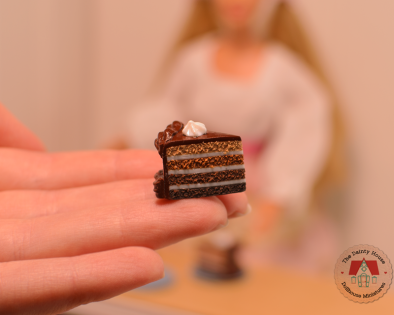 Miniature Chocolate Cake Slices for Barbie or Blythe